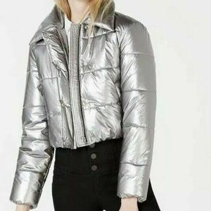 Bar III Cropped Puffer Jacket Size Medium Si